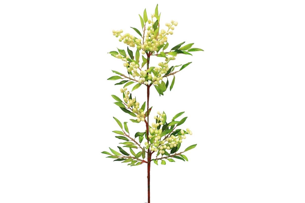Ветка с белыми ягодами искусственная 100 см