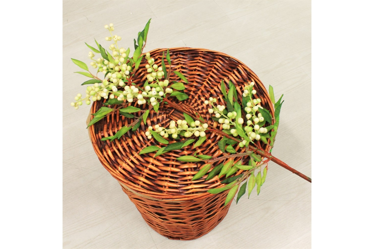 Ветка с белыми ягодами искусственная 100 см - Фото 2