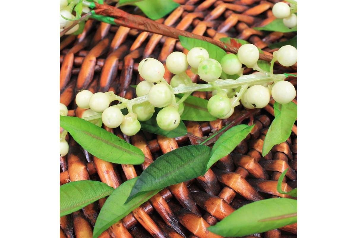 Ветка с белыми ягодами искусственная 100 см - Фото 3