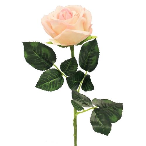 Роза искусственная бело-розовая 57 см (real touch)