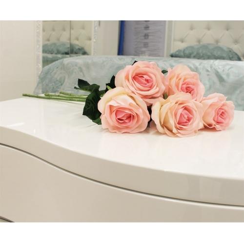 Роза искусственная бело-розовая 57 см (real touch) - Фото 2
