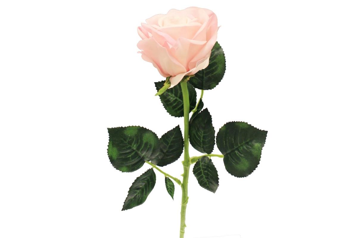 Роза искусственная розовая 57 см (real touch)
