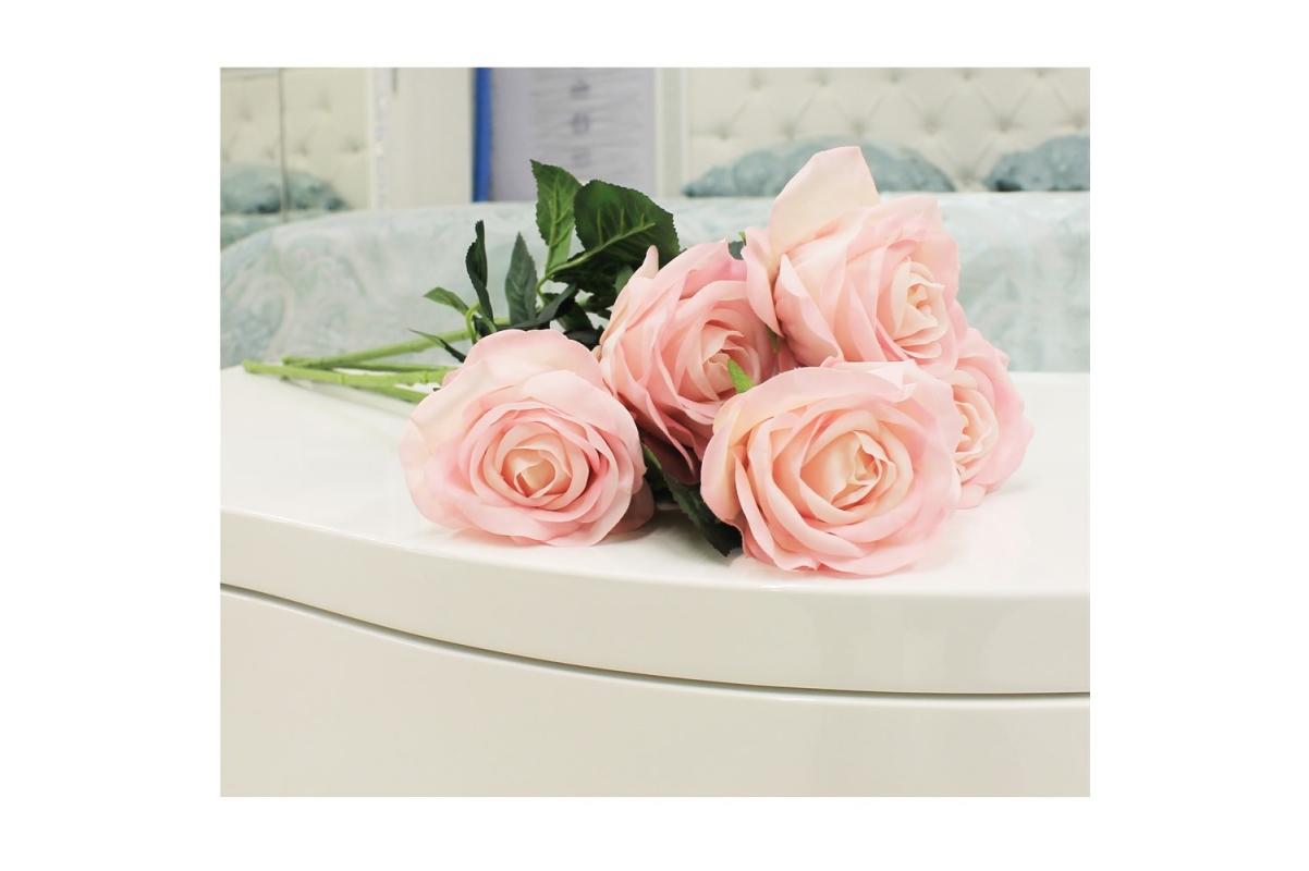 Роза искусственная розовая 57 см (real touch) - Фото 2