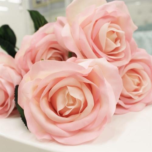 Роза искусственная розовая 57 см (real touch) - Фото 3