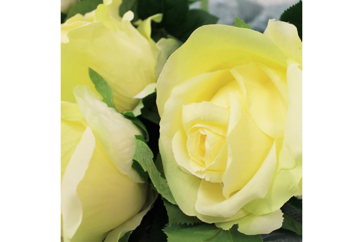 Роза искусственная желтая 68 см - Фото 3