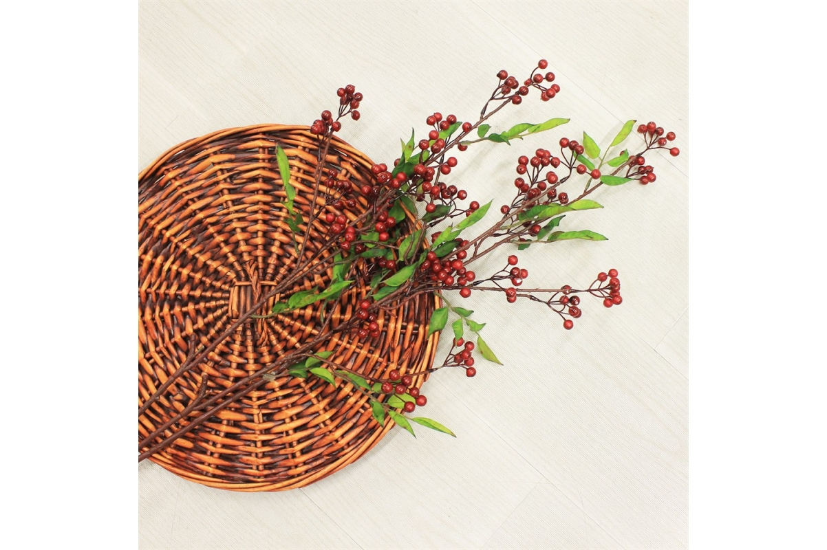 Ветка с красными ягодами искусственная 86 см - Фото 2