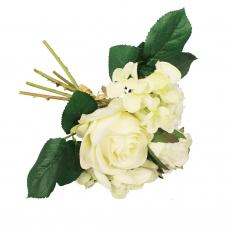 Букет из Роз и Гортензий искусственный белый 22 см