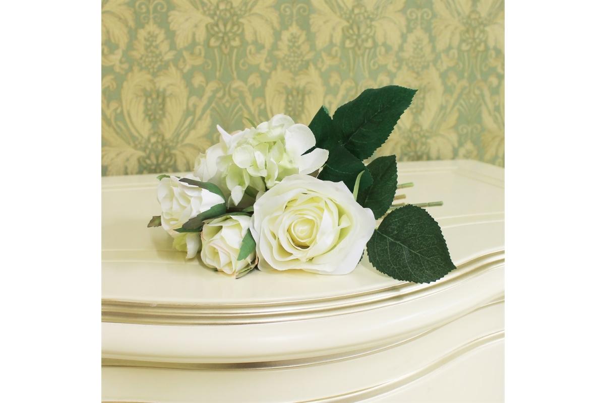 Букет из Роз и Гортензий искусственный белый 22 см - Фото 2