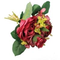 Букет из Роз и Гортензий искусственный бургундия 22 см