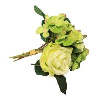 Букет из Роз и Гортензий искусственный зеленый 22 см