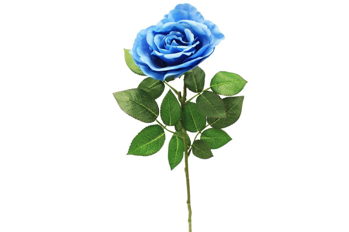 Роза искусственная голубая 67 см