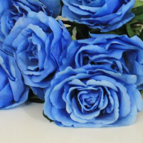 Роза искусственная голубая 67 см - Фото 3
