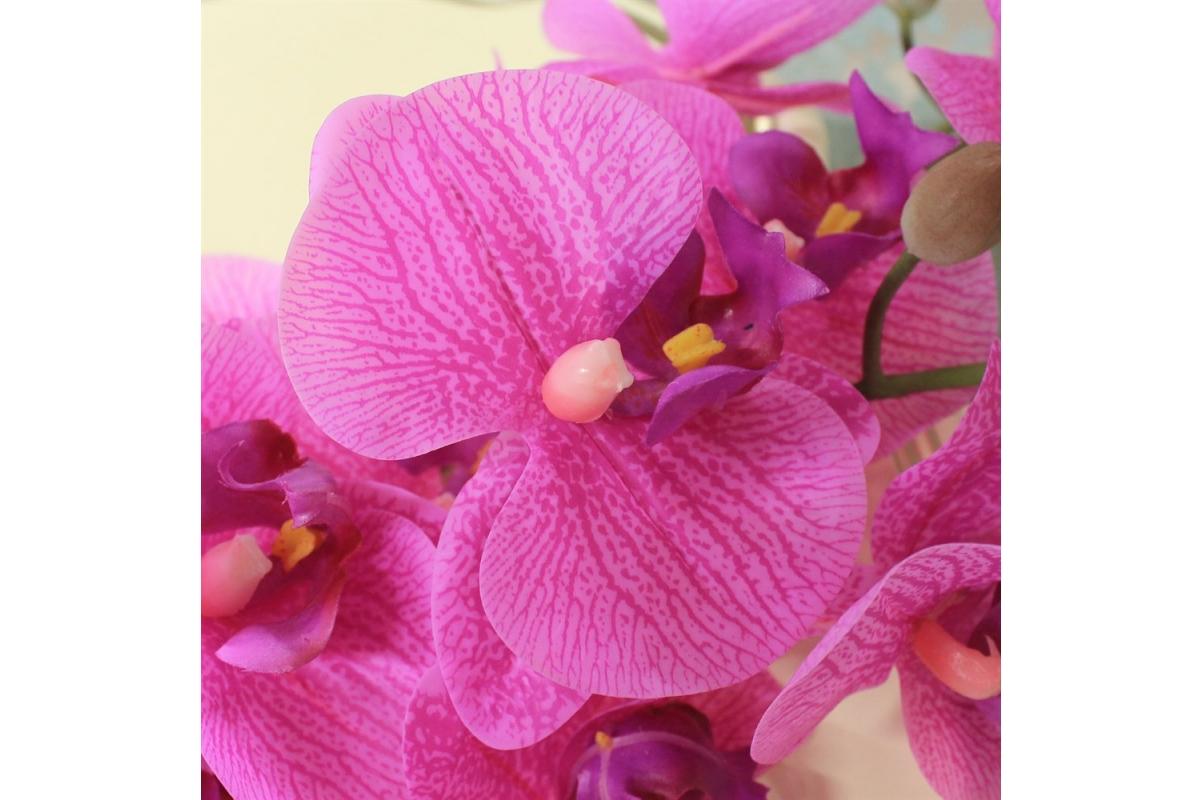 Орхидея Фаленопсис искусственная сиреневый 88 см (real touch) - Фото 3