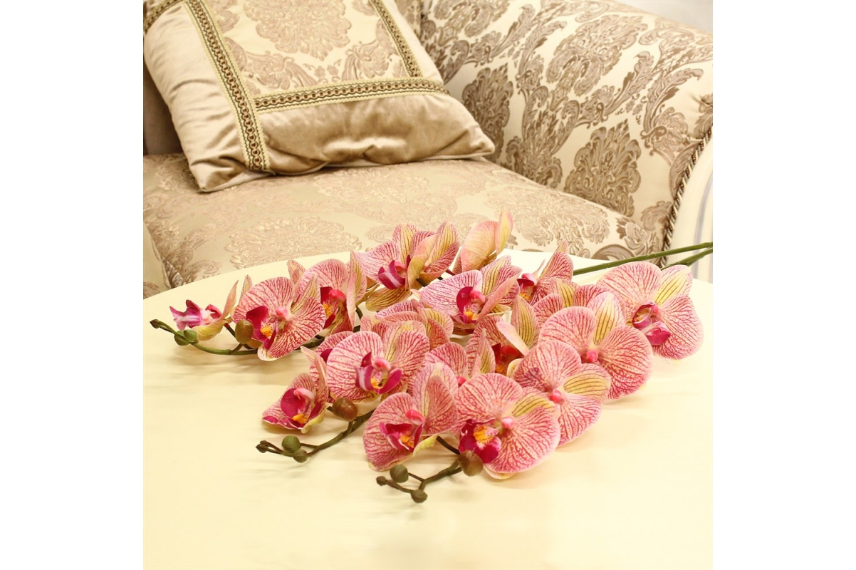 Орхидея Фаленопсис искусственная зелено-розовая 85 см (real touch) - Фото 2