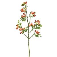 Ветка Шиповника с ягодами искусственная оранжевая 100 см
