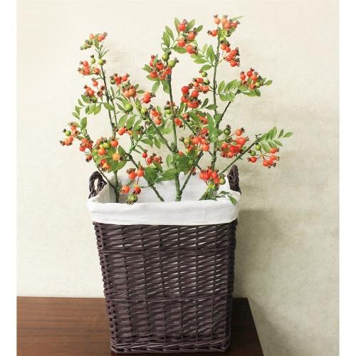 Ветка Шиповника с ягодами искусственная оранжевая 100 см - Фото 2