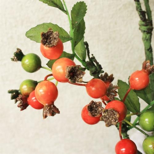 Ветка Шиповника с ягодами искусственная оранжевая 100 см - Фото 3