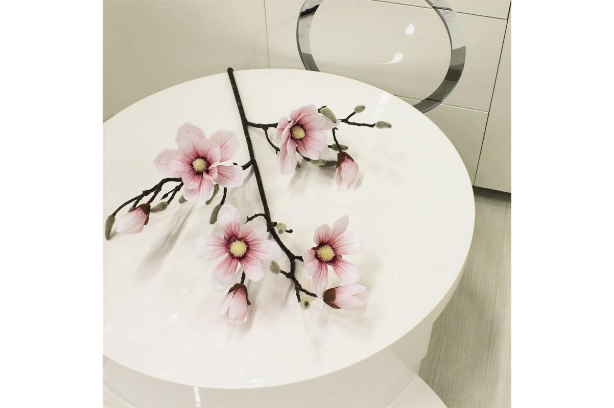 Магнолия ветка искусственная бело-розовая 115 см (real touch) - Фото 2