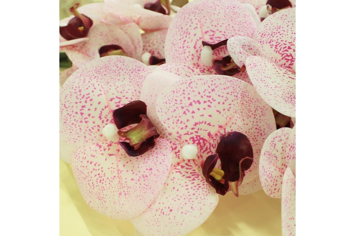 Орхидея Фаленопсис искусственная бело-розовая 72 см (real touch) - Фото 3
