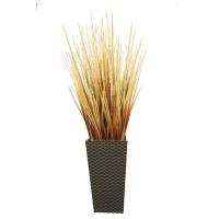 Трава с узким соцветием искусственная микс в высоком кашпо 100 см