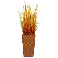 Трава с узким соцветием искусственная оранжевая в малом кашпо 100 см