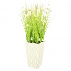 Трава с соцветием султанка искусственная светло-зеленая в высоком кашпо 120 см