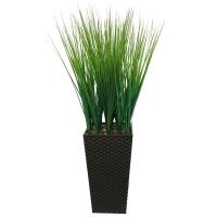 Трава искусственная низкая зеленая в высоком кашпо 84 см