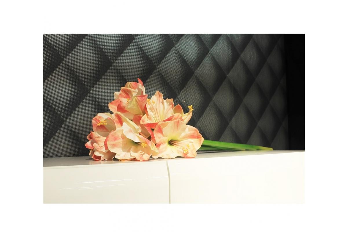 Амариллис 3 цветка и 1 бутон искусственный розово-белый 75 см (real touch) - Фото 2
