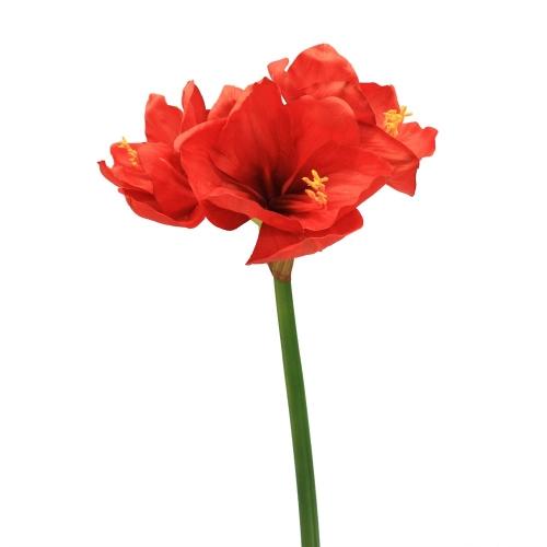 Амариллис 3 цветка и 1 бутон искусственный красный 75 см (real touch)