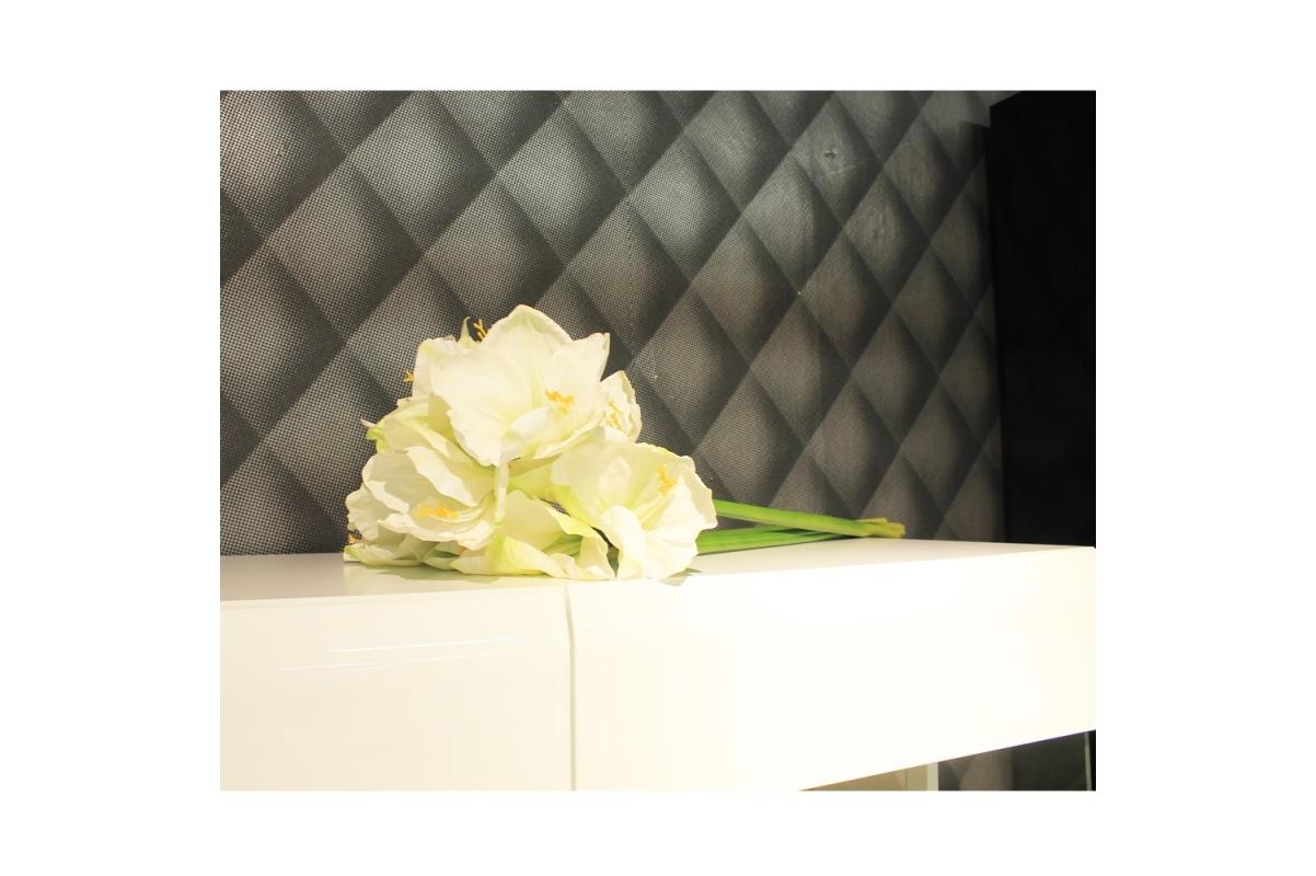 Амариллис 3 цветка и 1 бутон искусственный белый 75 см (real touch) - Фото 2