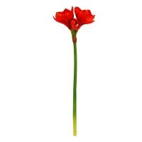 Амариллис 2 цветка и 1 бутон искусственный красный 70 см (real touch)