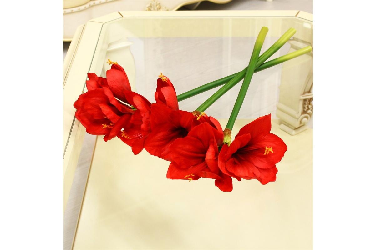 Амариллис 2 цветка и 1 бутон искусственный красный 70 см (real touch) - Фото 2