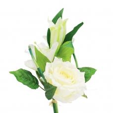 Букет из Лилии и Розы искусственный белый 33 см