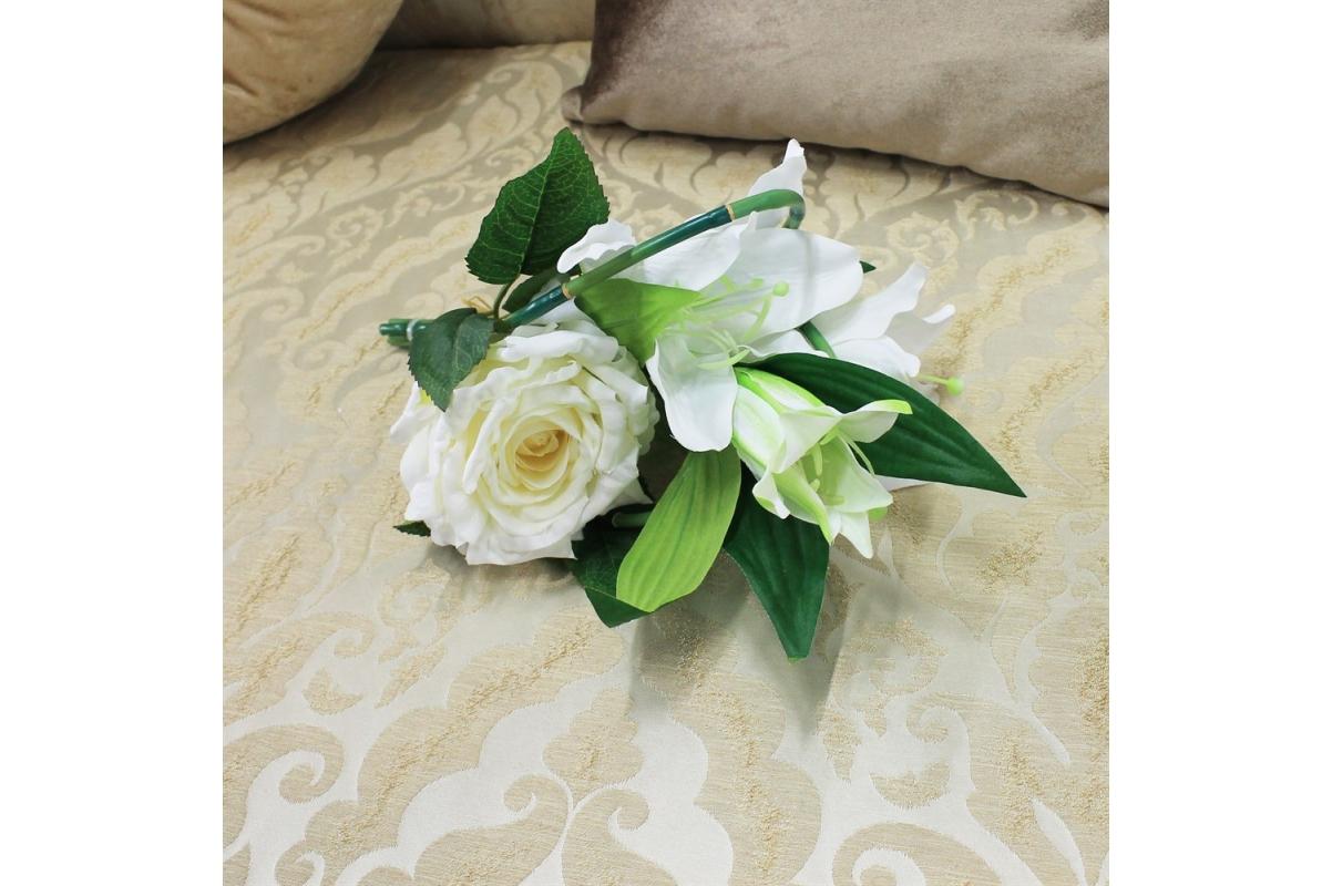 Букет из Лилии и Розы искусственный белый 33 см - Фото 2