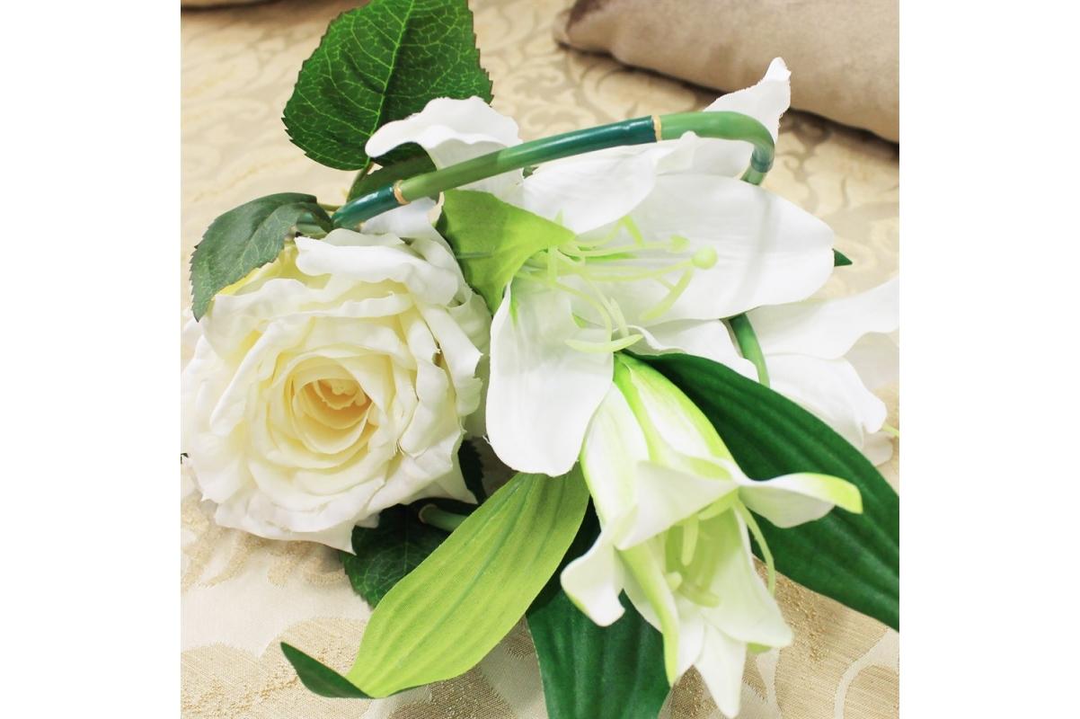 Букет из Лилии и Розы искусственный белый 33 см - Фото 3