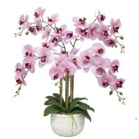 Композиция Орхидея Фаленопсис 5 веток искусственная сиреневая в керамическом кашпо 70 см