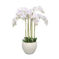Композиция из 7 веток Орхидей Фаленопсис искусственная белая в кашпо 115 см