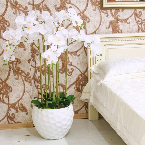 Композиция из 7 веток Орхидей Фаленопсис искусственная белая в кашпо 115 см - Фото 2
