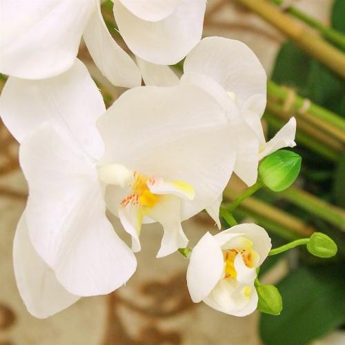 Композиция из 7 веток Орхидей Фаленопсис искусственная белая в кашпо 115 см - Фото 3