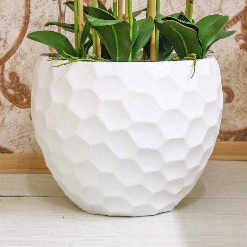 Композиция из 7 веток Орхидей Фаленопсис искусственная белая в кашпо 115 см - Фото 4