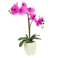 Композиция Орхидея Фаленопсис двойная ветка искусственная сиреневая в кашпо 63 см