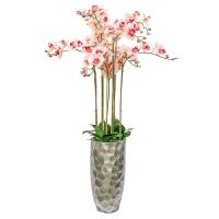 Композиция Орхидея Фаленопсис 9 веток искусственная бело-розовая в кашпо 150 см