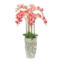 Композиция Орхидея Фаленопсис 7 веток искусственная светло-розовая в кашпо 125 см