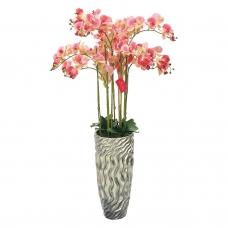 Композиция Орхидея Фаленопсис 9 веток искусственная светло-розовая в кашпо 135 см