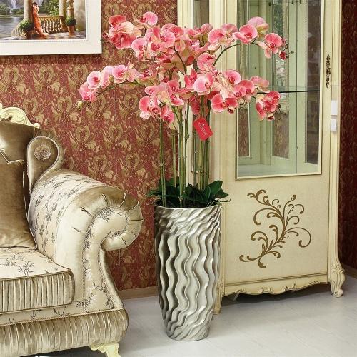 Композиция Орхидея Фаленопсис 9 веток искусственная светло-розовая в кашпо 135 см - Фото 2
