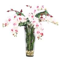 Композиция Орхидея Фаленопсис с Сореллой и листьями монстеры искусственная в стеклянной вазе с водой 90 см