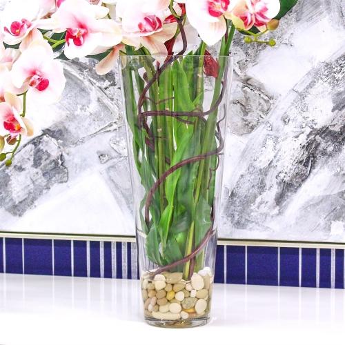 Композиция Орхидея Фаленопсис с Сореллой и листьями монстеры искусственная в стеклянной вазе с водой 90 см - Фото 4