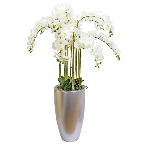 Композиция Орхидея Фаленопсис 9 веток искусственная белая в кашпо 150 см
