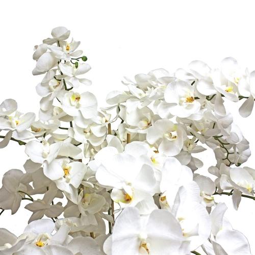 Композиция Орхидея Фаленопсис 9 веток искусственная белая в кашпо 150 см - Фото 2