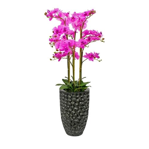 Композиция Орхидея Фаленопсис 6 веток искусственная сиреневая в кашпо 135 см